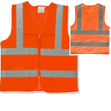 2 Pockets High Visibility Neon Orange Front Zipper Safety Vest with Reflective Strips ANSI ISEA, Large