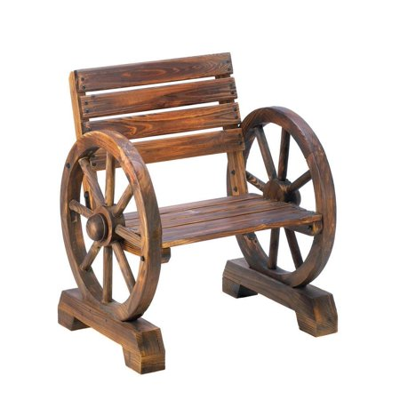 Small Patio Chairs, Outdoor Rustic Wagon Wheel Lounge Furniture Wood Wooden Chair ()