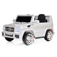 12V powered Mercedes AMG G65 Ride on electric car For Kids with Remote Control LED lights MP3 Leather Seat - Silver