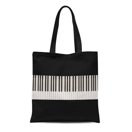 POGLIP Canvas Tote Bag Music Piano Keys 76Keys Artistic Black Classic Classical Ebony Durable Reusable Shopping Shoulder Grocery Bag - image 1 of 1