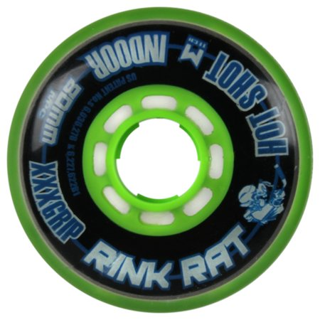 RINK RAT Single Wheel Hot Shot Black/Green 80mm 76a Inline Indoor Hockey (76a Wheels)