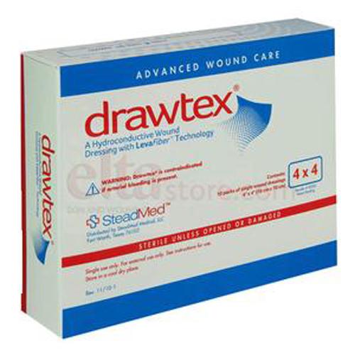 Steadmed Drawtex Hydro-Conductive Dressing w LevaFiber&trade, 4 x 4-Box of 10 by SteadMed Medical
