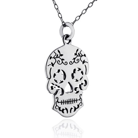Sterling Silver Sugar Skull Pendant Necklace, 18