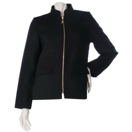 Susan Graver Zip Front Fully Lined Jacket Mandarin Collar (Petites Mandarin Collar Jacket)