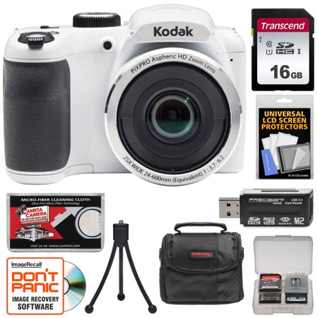 KODAK PIXPRO AZ252 Astro Zoom Digital Camera (White) with 16GB Card + Case + Tripod Kit