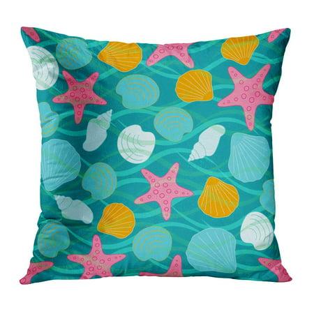 ECCOT Blue Abstract Sea The Inhabitants of Shells on Waves Aqua Aquarium  Bright Child Coast Pillowcase Pillow Cover Cushion Case 18x18 inch