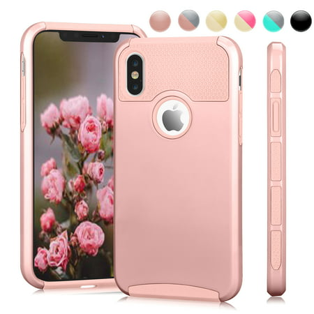 Apple iPhone X Case, iPhone 10 Case, iPhone X Phone Cover, Njjex Hybrid Rugged Shockproof Hard PC & soft TPU Case Cover for Apple A1901, A1865 -Rose Gold