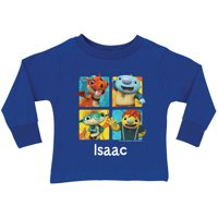 Personalized Wallykazam Squares Royal Toddler Boys' Blue Long Sleeve T-Shirt
