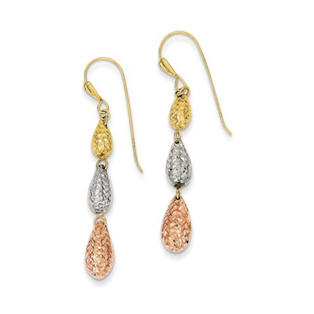 Diamond Cut Triple Teardrop Dangle Earrings in 14k Tri Color Gold