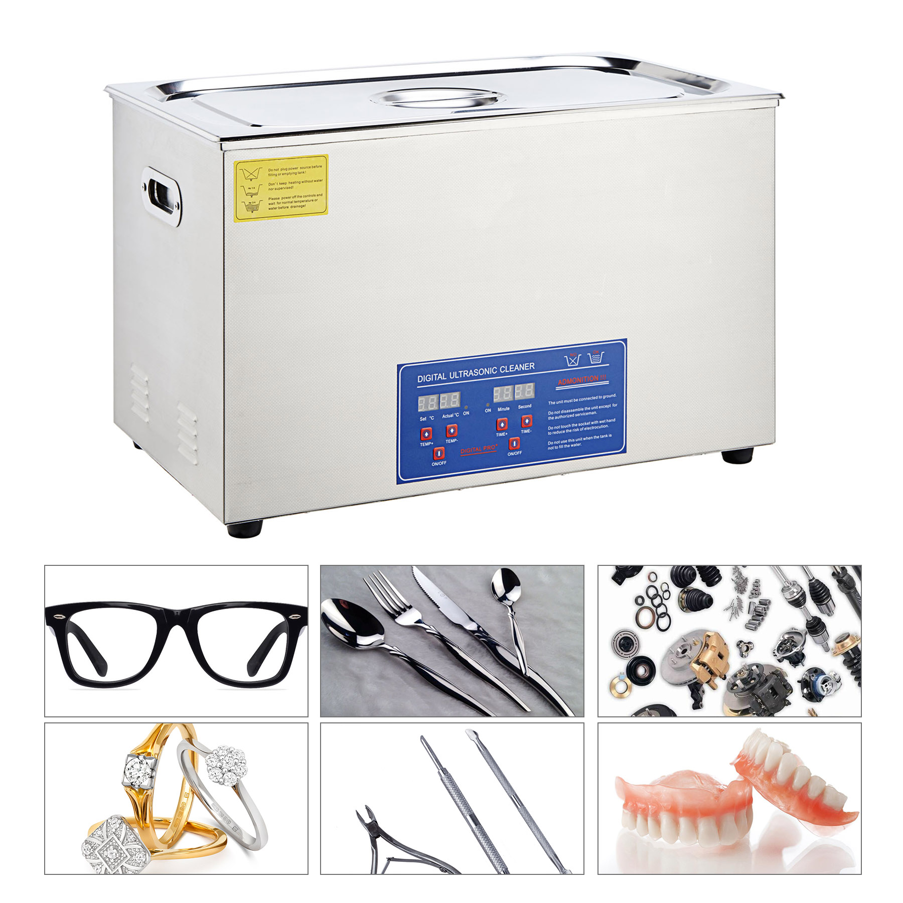 Professional Ultrasonic Jewelry Cleaner Stainless Steel C...