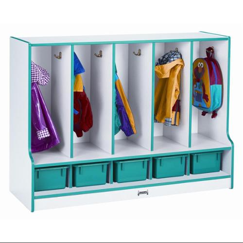 Rainbow Accents Toddler 5 Sections Coat Locker w Tray (Green)