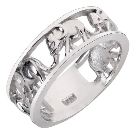 Elephant Migration Eternity Ring Sterling Silver 925 (Sizes 4-15) ()