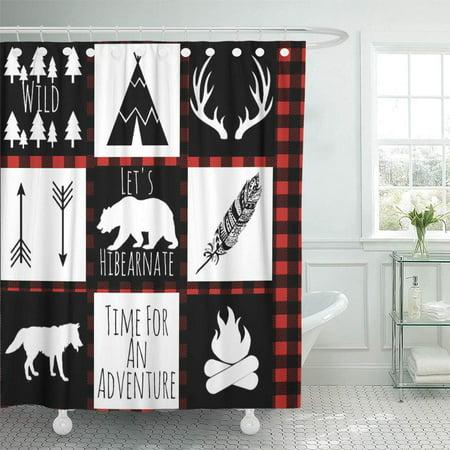 CYNLON Red Black Rustic Buffalo Check Plaid Wilderness Boy Nursery Bathroom Decor Bath Shower Curtain 60x72 inch