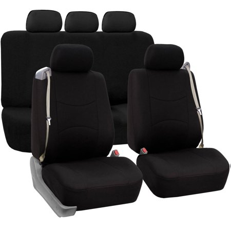 FH Group Full Set Flat Cloth Built-In Seatbelt Compatible Universal Fit Seat Covers,