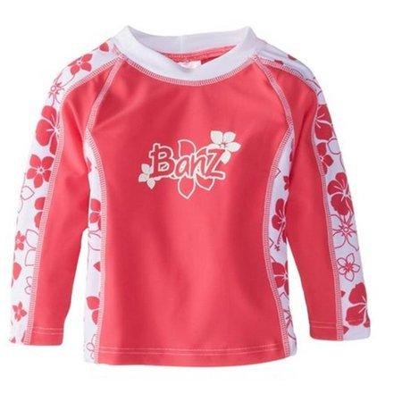 Banz RL-PW0 Girls Long Sleeve Rash Guard, Pink Floral - Size 0 - image 1 of 1