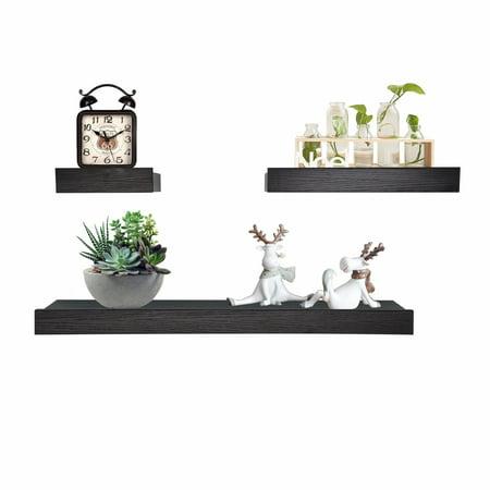 ORNO TTOBE Wood Wall Shelves and Ledges Floating Decorative Home Dec Set of 3 ()