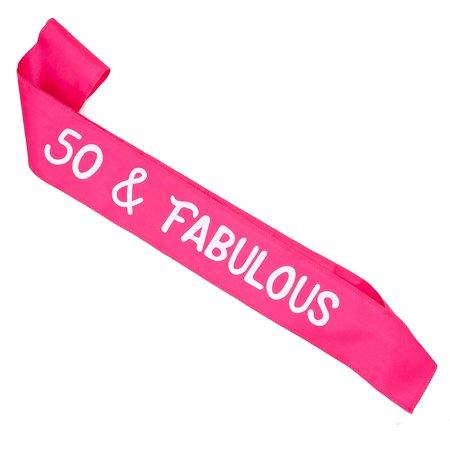 Pink Birthday Sash (Ella Celebration 50 & Fabulous Birthday Sash for 50th Birthday Party, Pink and White Accessories (50 & Fabulous)
