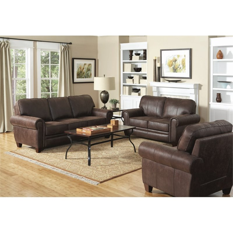 Coaster Bentley 3 Piece Microfiber Sofa Set In Brown Walmart Com