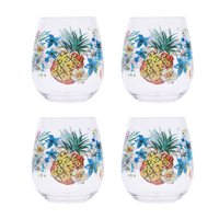 Mainstays Tropical Stemless Wine Glass, Set of 4