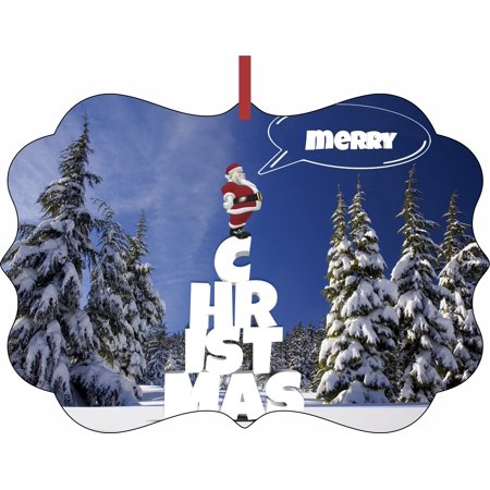 Merry Christmas - Santa - Snow - TM - Double-Sided Benelux Shaped High Gloss Hanging Holiday Ornament