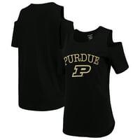 Purdue Boilermakers Women's Plus Size Cold Shoulder T-Shirt - Black