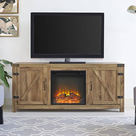 Farmhouse Barnwood Fireplace TV Stand for TVs up to 64u0022 by Manor Park