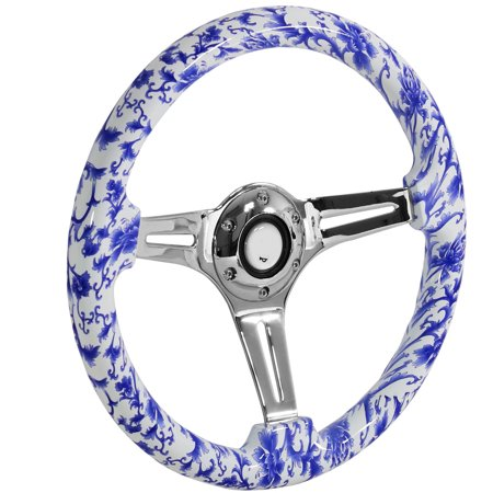Spec-D Tuning 350Mm Racing 3-Spoke Wood Blue White Porcelain Style Pattern Steering Wheel