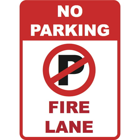 - No Parking - Fire Lane Sign Inches Commercial Business Warning Signs - Aluminum Metal, 12x18