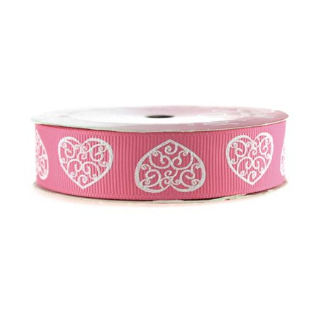 Glitter Swirl Heart Grosgrain Ribbon, 7/8-inch, 4-yard, Hot Pink - Ribbon Heart