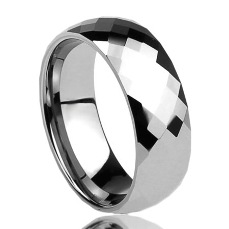 Men Women 8mm Mens Tungsten Comfort Fit Wedding Band Ring Multi Faceted High Polish Dome Ring