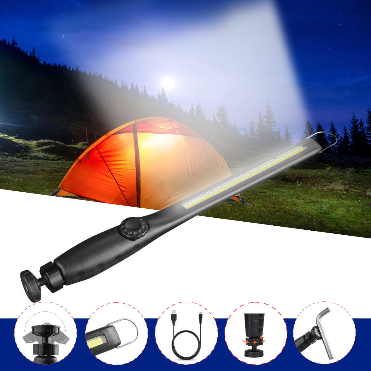 1000Lumens USB Rechargeable COB LED Flashlight Work Light Folding Lamp Inspection Torch with Magnetic Clip for Outdoor Camping Household Workshop 360° Revolving