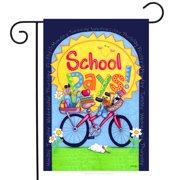 "School days! Fall Back to School Garden Flag Sun Bicycle Weekdays 12.5""x18"""