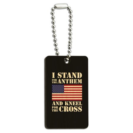 I Stand For The Flag Kneel Cross USA American Flag Patriotic Wood Wooden Rectangle Keychain Key Ring ()