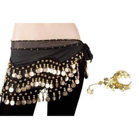 TopTie Gold Coins Belly Dance Hip Scarf, Wholesale Dance Belt & Gypsy Bracelet-Black - Coin Belt Belly Dance