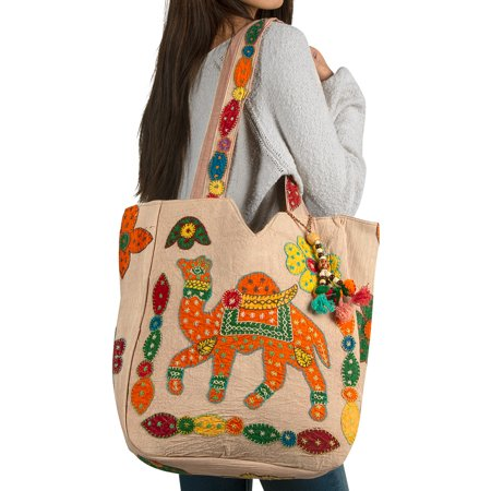 Tribe Azure Handmade Shoulder Handbag Tote Unique Fashion Canvas Beige Tote Travel Shopping Beach