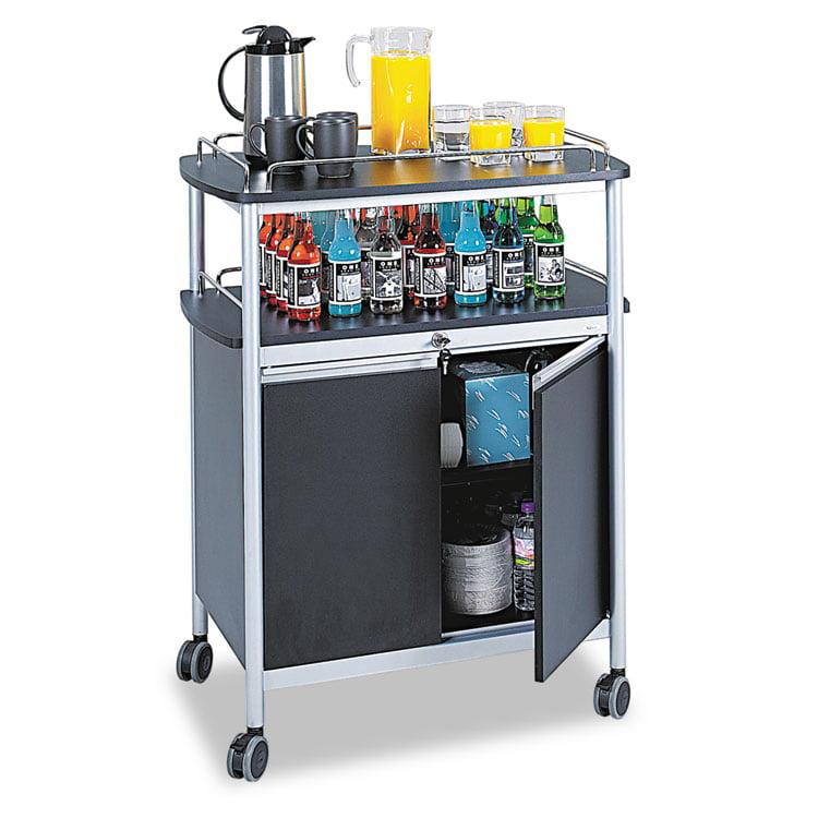 Safco Mobile Beverage Cart, 33-1/2w x 21-3/4d x 43h, Black -SAF8964BL