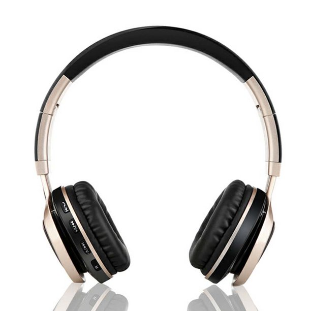 Peroptimist Wireless Bluetooth Headphones Over Ear With Mic And Volume Control Wireless And Wired Headset For Pc Cell Phones Tv Pad Black Gold Walmart Com Walmart Com