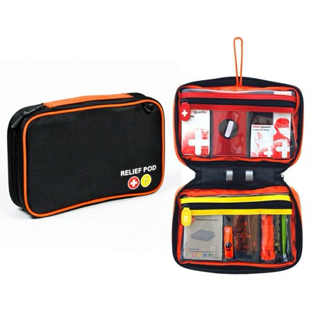 Emergency Kit, Relief Pod Black First Aid Bag Small Safety Home Kit, 32pc (Safety First Bag)