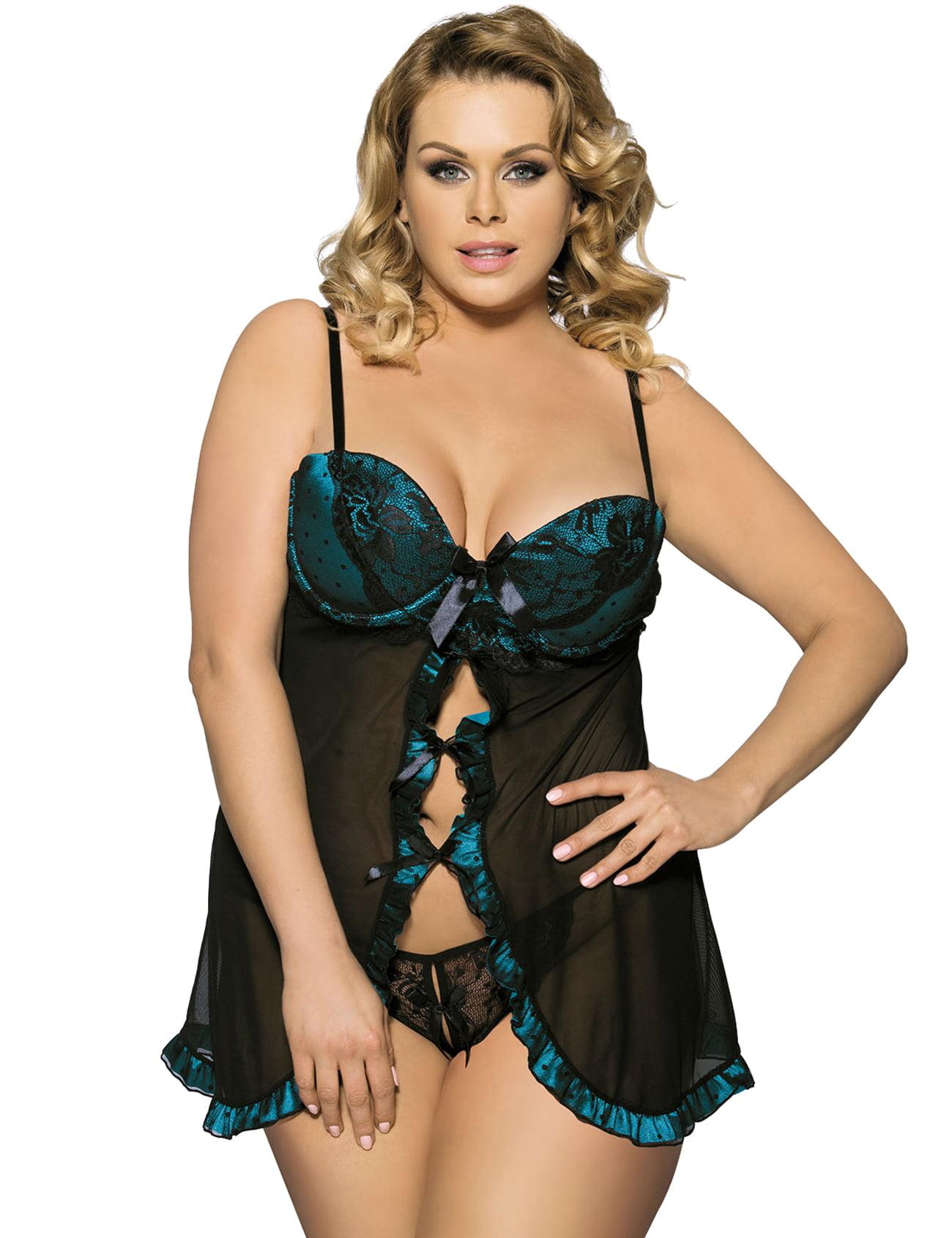 jenniwears women's plus size sexy stretch mesh babydoll w/underwire cups