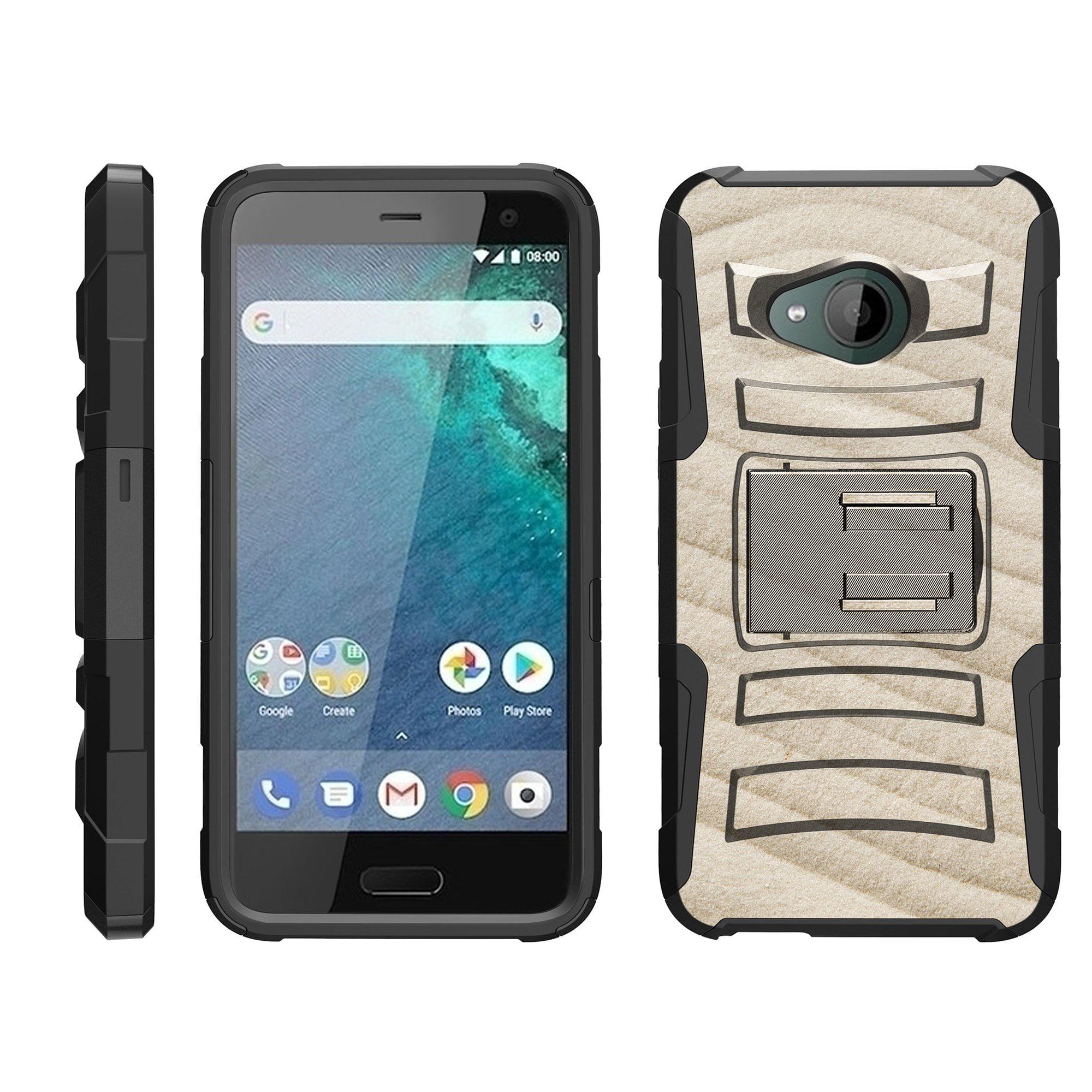 TurtleArmor ®   For HTC U11 Life [Hyper Shock] Hybrid Dual Layer Armor Holster Belt Clip Case Kickstand - Sand Pattern