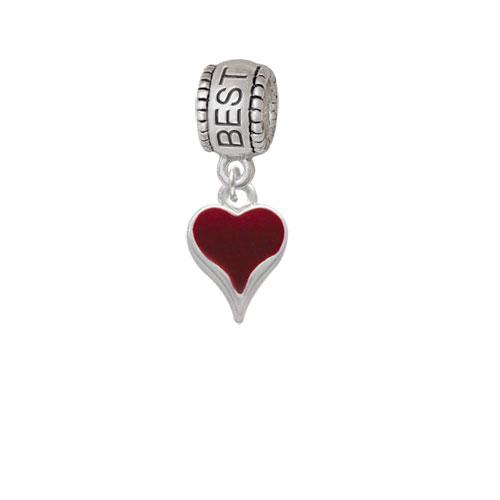 Small Long Maroon Heart - Best Friend Charm Bead