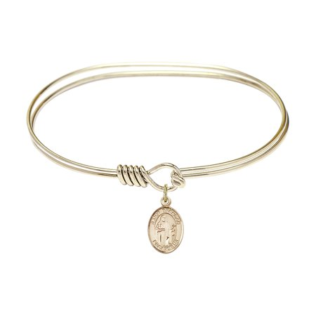 7 inch Oval Eye Hook Bangle Bracelet w/ St. Brendan the Navigator charm Gold-Filled Medal