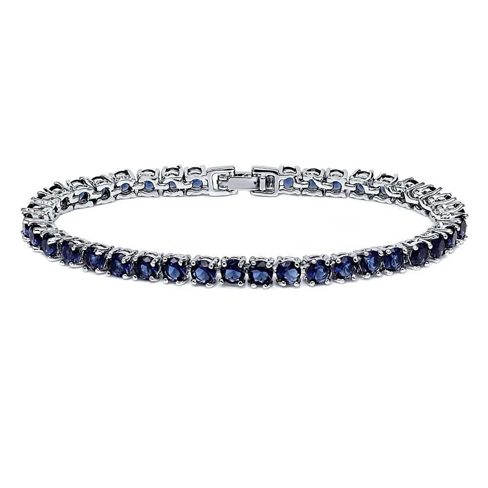 "12.00 Ct Round Cut Blue Simulated Sapphire 7"" Tennis Bracelet 7 Inch by"
