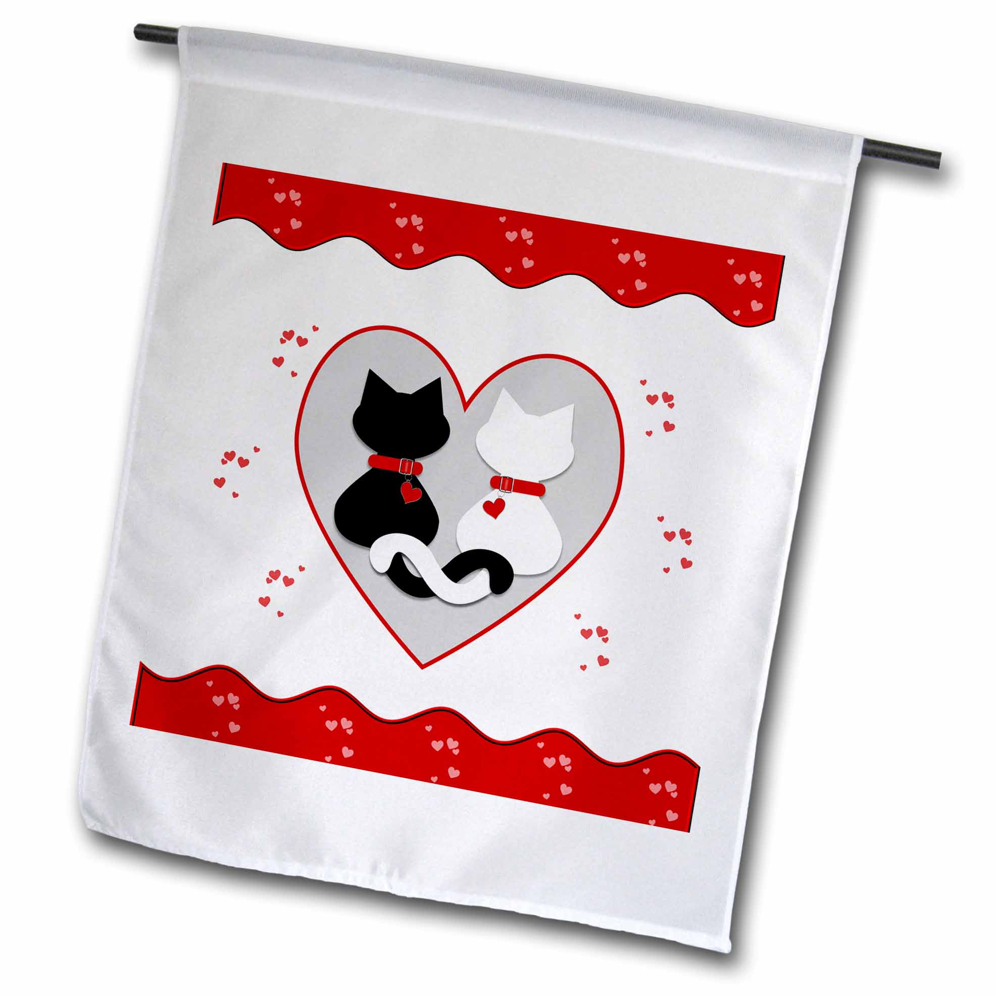 3dRose Cute Red Hearts Valentine Cat Couple, Garden Flag, 18 by 27-Inch