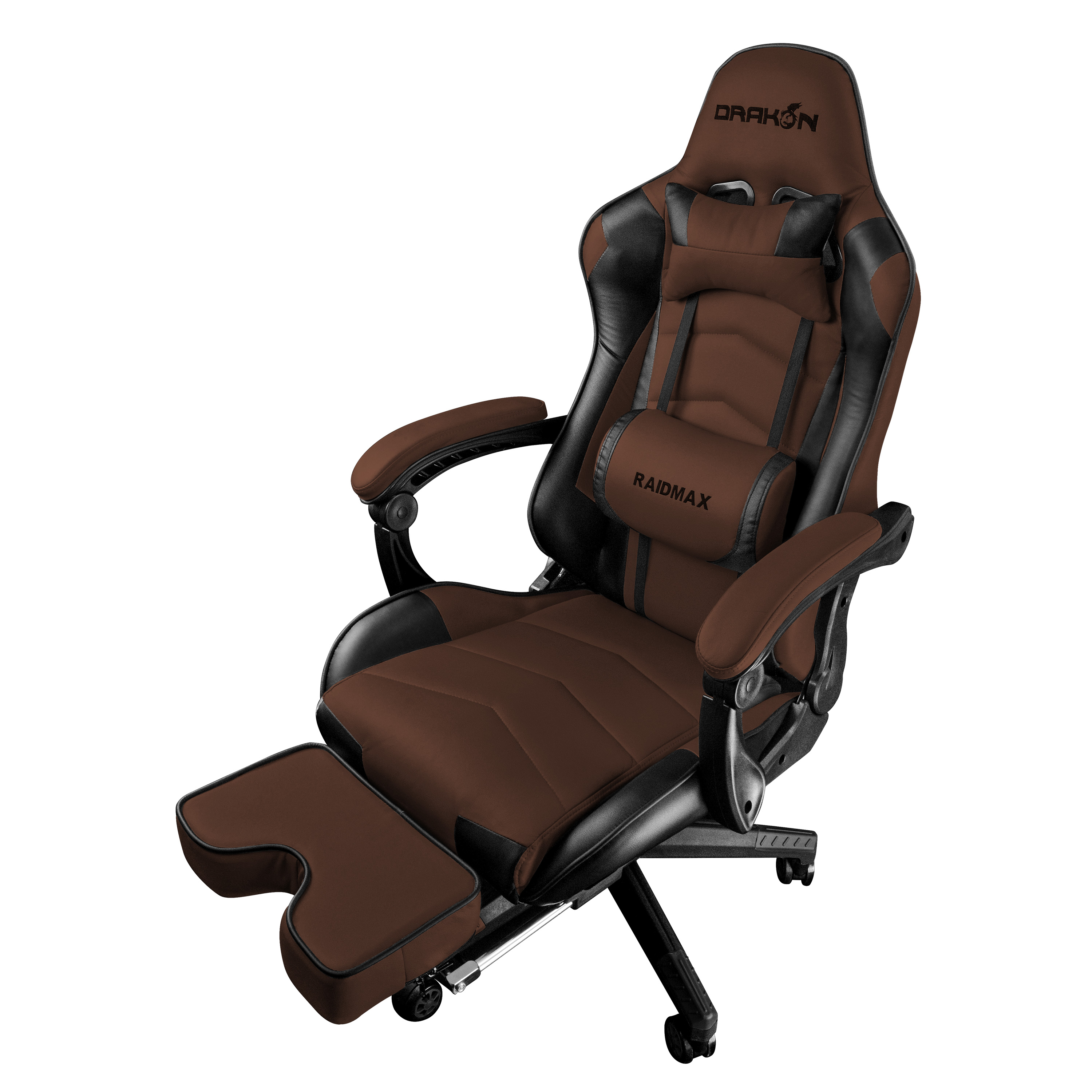 Picture of: Drakon Dk709 Gaming Chair Ergonomic Racing Style Pu Leather Seat Headrest With Foldable Foot Leg Rest Brown Walmart Com Walmart Com