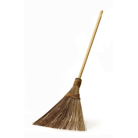 18 in. Coconut Bristle Garden Upright Broom Wooden Surface Handle Cleaning Tool ()