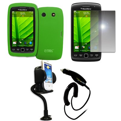 Empire Vents Mirror - EMPIRE Neon Green Silicone Skin Case Cover + 360 Degree Rotatable Car Windshield Mount with Air Vent Attachment + Mirror Screen Protector + Car Charger (CLA) for BlackBerry Torch 9850