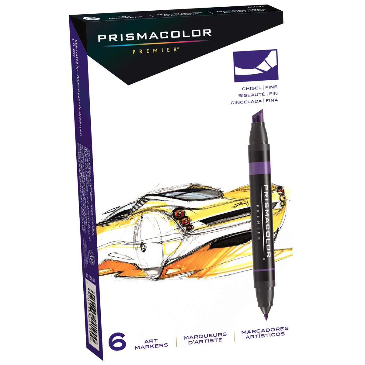 Primsacolor Premier Double Ended Chisel Tip and Fine Tip Art Markers, 6 Colored Markers