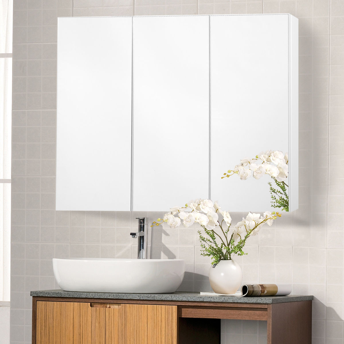 Costway 36u0027u0027 Wide Wall Mount Mirrored Bathroom Medicine Cabinet Storage 3  Mirror Door