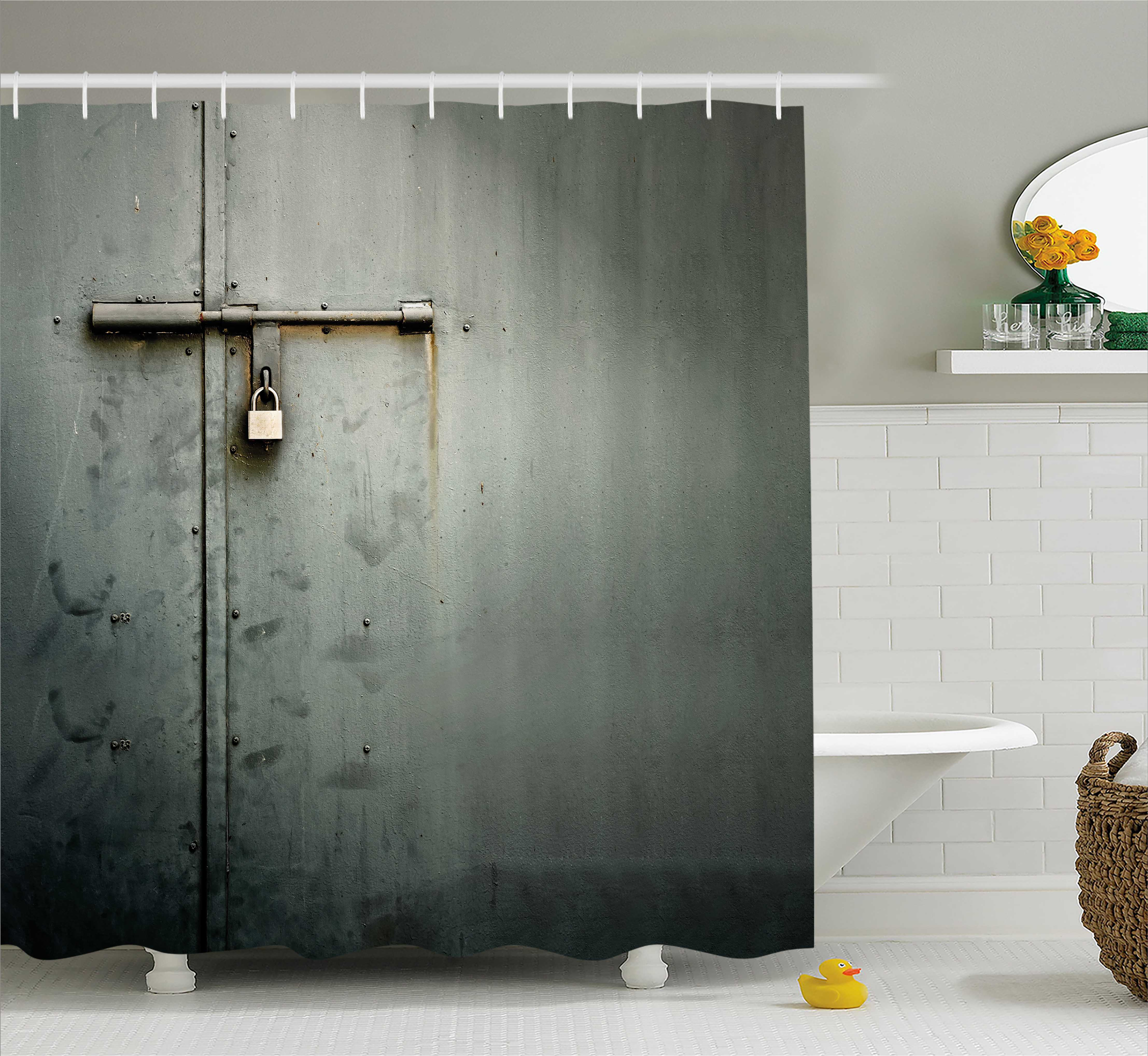 Grey Shower Curtain, Close Up Photo of Abandoned Warehouse Home Store Door with a Hanging Lock Print, Fabric Bathroom Set with Hooks, 69W X 75L Inches Long, Charcoal Grey, by Ambesonne